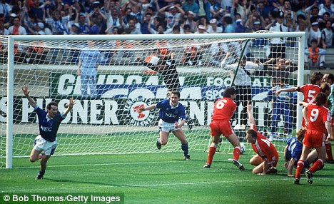 Back in the day: Everton celebrate, but it was Liverpool who had the last laugh in the 1989 final