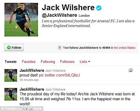 Proud dad: Jack announced Archie's birth on his Twitter page this afternoon