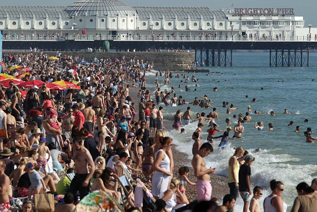 The scene at Brighton yesterday which is set to be replicated today as the city's authorities says there has been a surge in hotel bookings