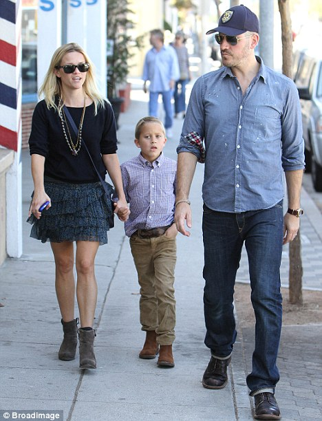 Happy family: Reese Witherspoon was spotted leaving church in Santa Monica today as she ventured out with son Deacon and husband Jim Toth