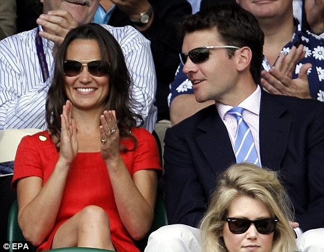 Happy couple: Pippa and Alex Loudon at Wimbledon in June this year