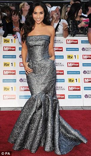 Going grey: TV presenter Myleene Klass (left) wore a grey mermaid gown, while Pride Of Britain Awards host Carol Vorderman wore an Amanda Wakeley number