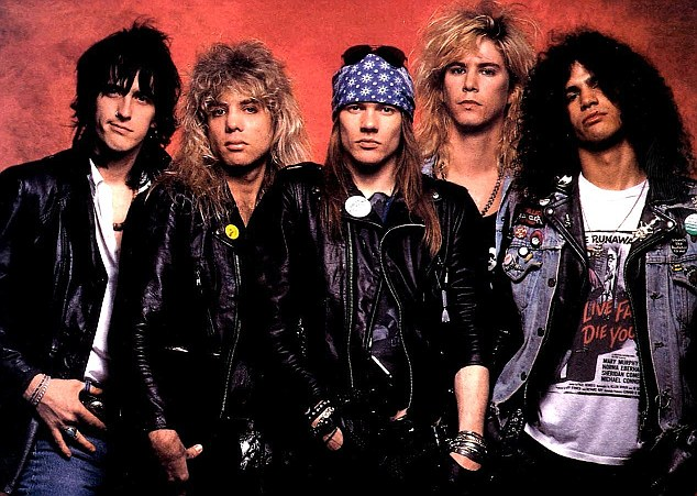Back in the day: Axl (centre) with Izzy Stradlin, Steven Adler, Duff McKagan and Slash