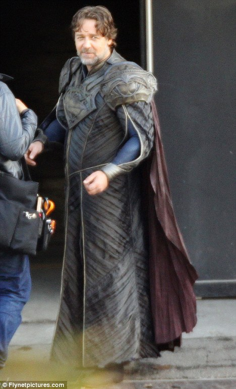 First look: Russell Crowe was pictured for the first time on the set earlier this week in costume