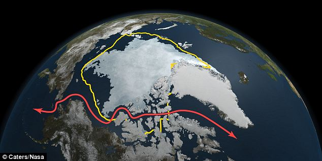 Melting revelation: The yellow line shows the area the polar ice caps covered 30 years ago and the red line shows the Northwest Passage shipping lanes