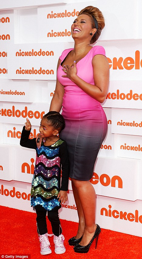 Having a laugh: Mel B giggles on the red carpet with daughter Angel at the Nickelodeon Kid's Choice Awards in Sydney, Australia