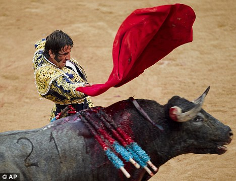 Before: Juan Jose Padilla pictured three months before the goring during July's San Fermin fiestas in  Pamplona
