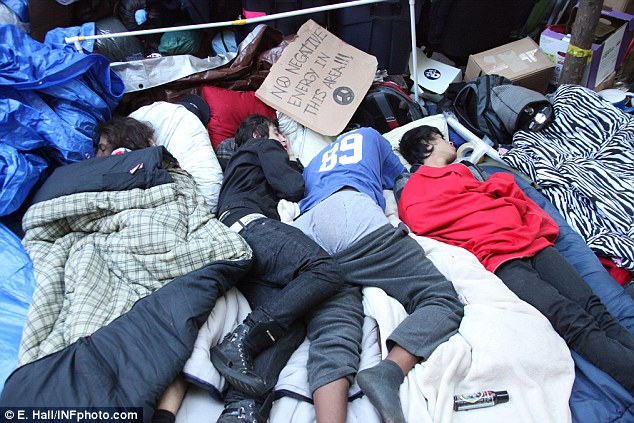 Deteriorating conditions: Protesters have been sleeping rough in New York for more than three weeks now