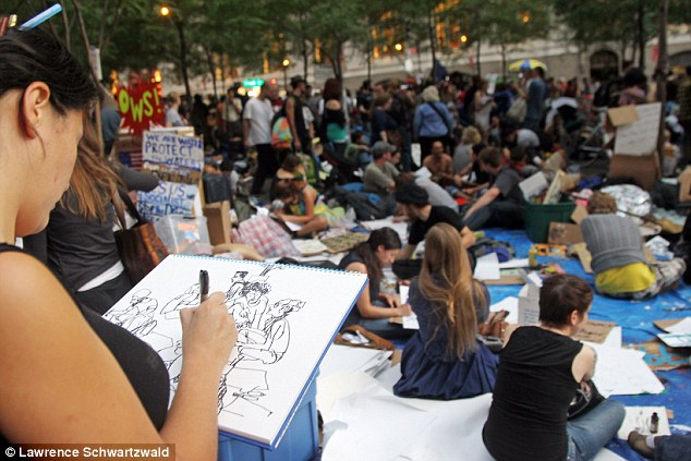 Artistic flair: Protesters in New York have shown their support for the movement with drawings and poems