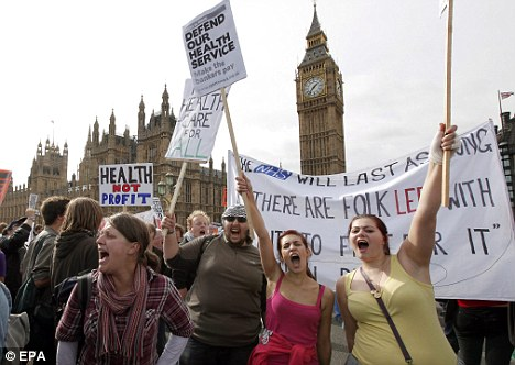 More to come: Protesters flocked to Westminster Bridge where they demonstrated against cuts to the National Health Service in Britain