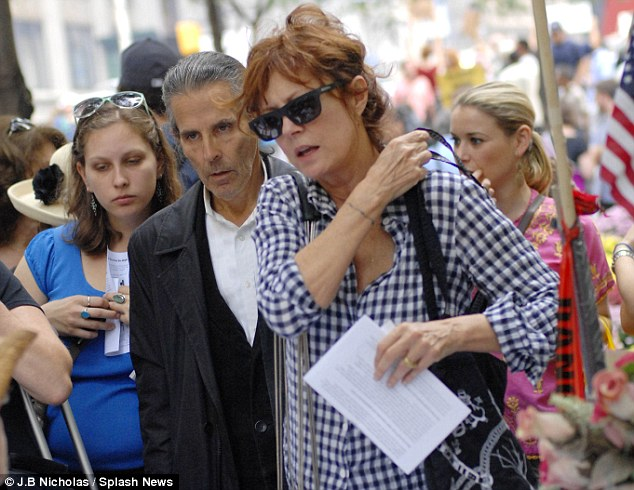 Famous name: Actor and activist Susan Sarandon visits the protest and the 'No Comment' protest art show in the former JP Morgan building across the street from the New York Stock Exchange on Monday