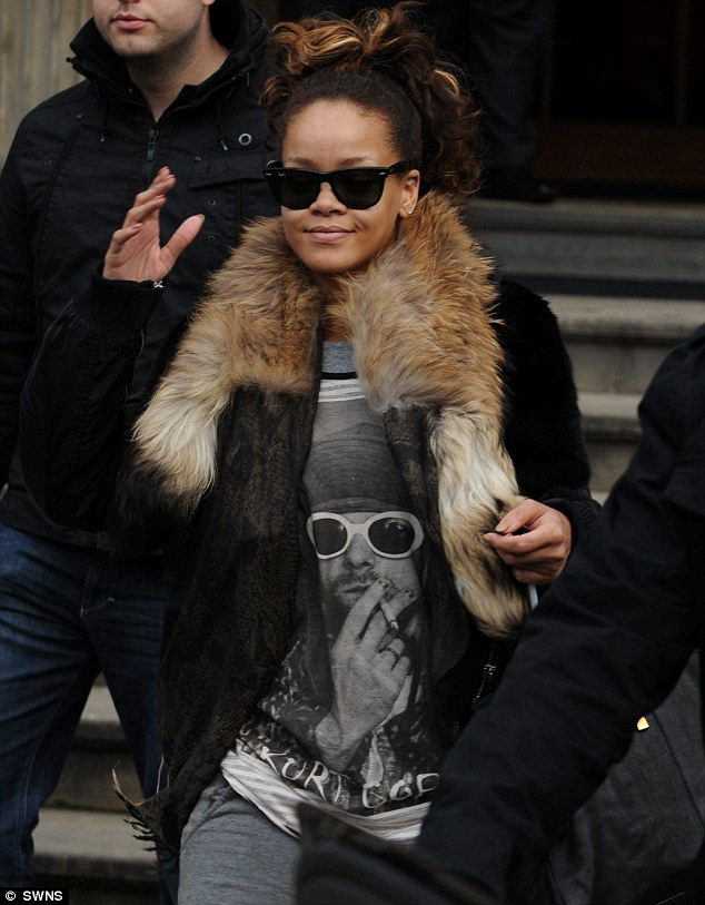 Nirvana: Rihanna jumped on the bandwagon for Kurt Cobain T-shirts as she left the Blythwood Hotel in Glasgow today