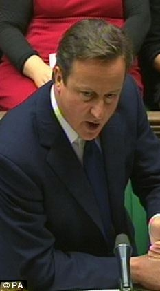 Opponent: David Cameron fielded questions about Liam Fox during Prime Minister's Questions