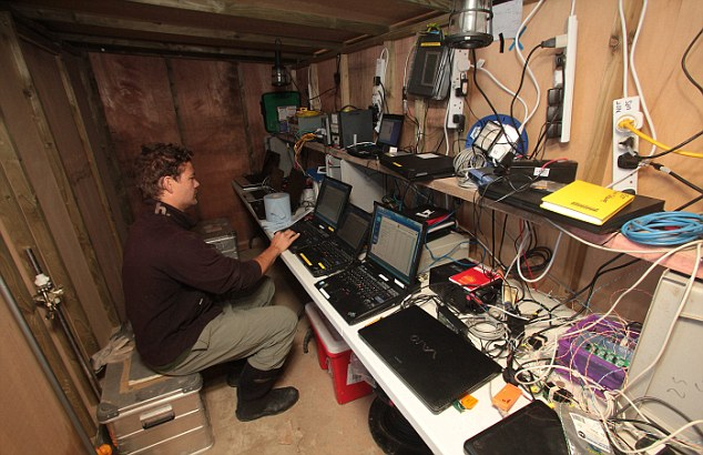 In for the long haul: Scientists work inside a hut used to house computer equipment to calculate measurements taken on the beach at Perranporth, Cornwall