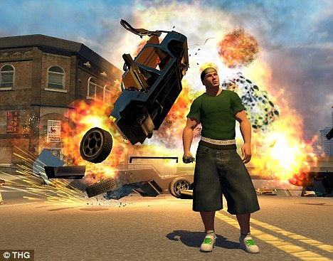 The game: Here is an image from the first version of Saints Row, which caused controversy because of its turf war gang shootings