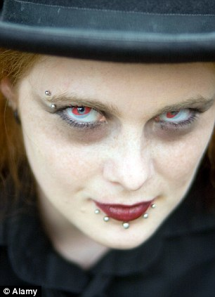 Eye-popping: Decorative contact lenses have become a popular trend for Halloween revellers
