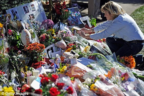 Tributes: A makeshift memorial for Mr Jobs was set-up at Apple headquarters in Cupertino, California, last week