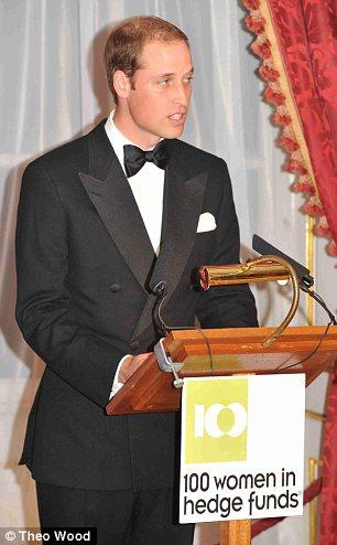 Duke of Cambridge speaks at a fundraising gala