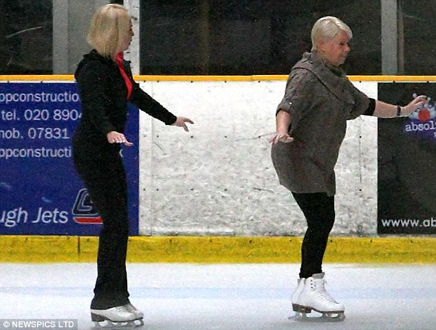 Careful! EastEnders actress Laila Morse, who plays Mo Harris, uses her arms to balance herself on the ice