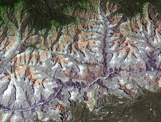 The Grand Canyon photographed from above by Terra - it's the most detailed topographic image of the world, and now covers 99 per cent of Earth's land mass