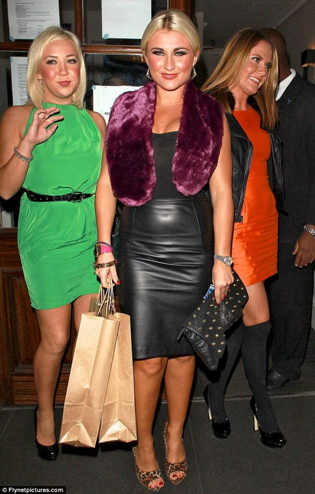 Girls' night out: Billie was joined by friends Kay Hawkins and Charlotte Robertson who went for bold block colours