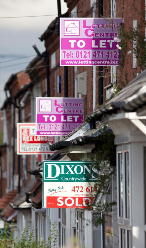 Rising costs: Houses to let signs in the Selly Oak area of Birmingham