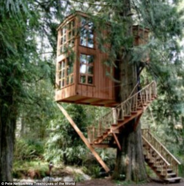 House of imagination: Trillium, another structure at Nelson's Treehouse Point, perches on a giant western red cedar and can be reached by a spiral staircase