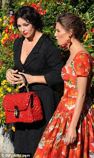 Fashionistas: Monica and Bianca epitomise Italian beauty as they chatter to one another during filming