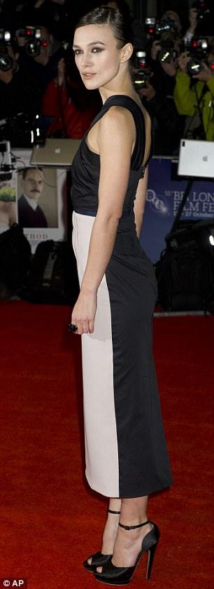 Slender: Keira Knightley shows off her slim frame in a black and grey Roksanda Ilincic dress at A Dangerous Method screening in London