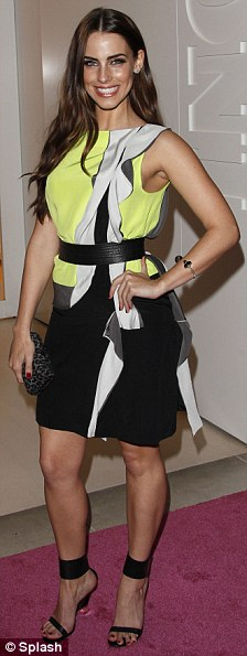 90210 star Jessica Lowndes looked stylish in the interesting bright numbe