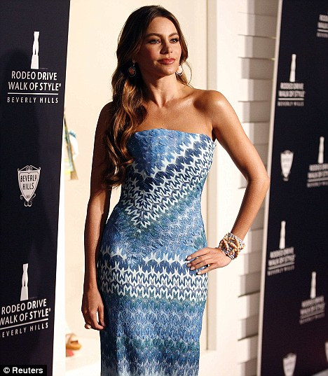 A few more clothes on: Sofia last night attended the Rodeo Drive Walk of Style Awards honoring supermodel Iman and Italian fashion house Missoni in Beverly Hills