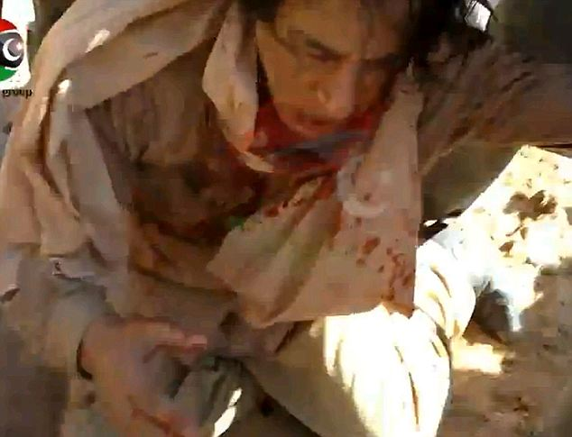 Fallen dictator: Gaddafi is manhandled by fighters loyal to the NTC in the moments after his capture in Sirte