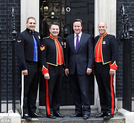 Charity single: Gibb missed out on joining The Soldiers officially launching their single with Prime Minister David Cameron on the steps of No.10 Downing Street