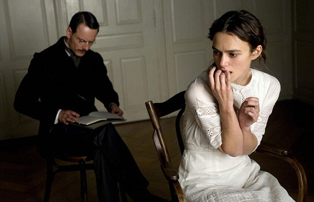 Passionate: Knightley plays Russian psychoanalyst Sabina Spielrein, who has an affair with Carl Jung (Michael Fassbender)