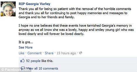 RIP Georgia Varley Facebook page: The internet troll's messages were removed
