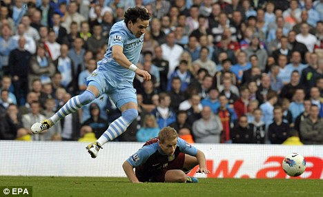 Action man: Hargreaves' last appearance for City was during the Premier League home win over Aston Villa