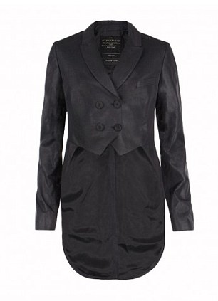 The Duchess wore the £250 Alita tail coat from AllSaints Spitalfields