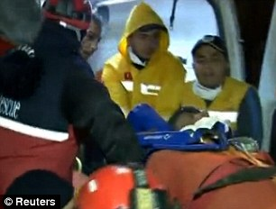 Hospital bound: The quake, that has so far killed a confirmed 535 people, has left around 50,000 people homeless