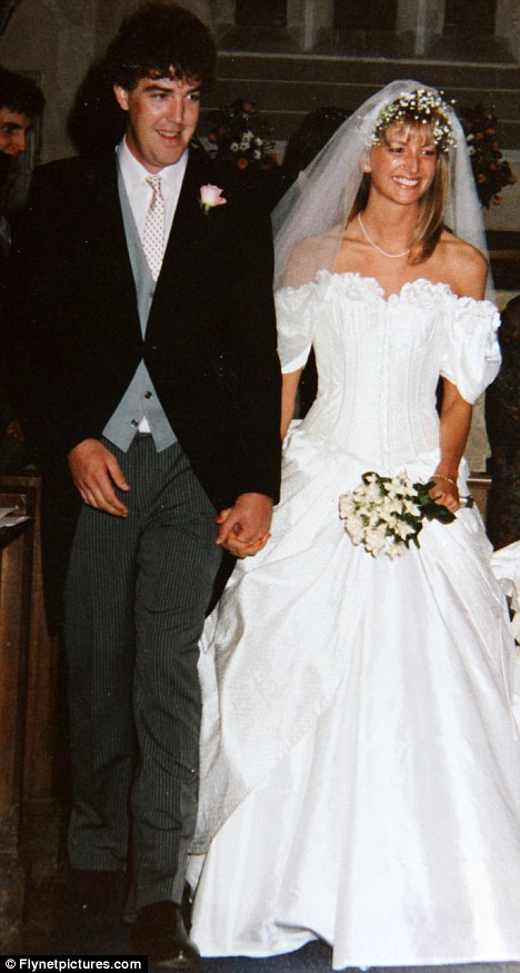 Big day: Clarkson with his first wife Alex wed in 1989. Their marriage lasted less than a year, but they embarked on a ten-year affair in 1999