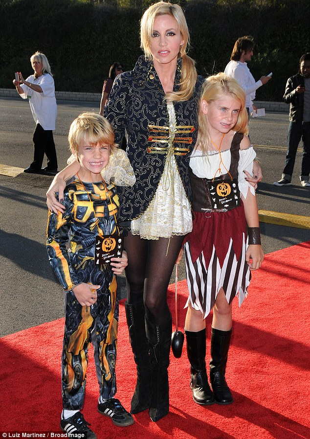 Joining in: Camille Grammer and her children Jude Gordon and Mason Olivia got dolled up for the 18th Annual Dream Halloween party in Los Angeles yesterday