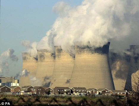 Green light: Mr Cameron has announced that two new power stations, including one at Ferrybridge, pictured, will be built, creating 1,000 construction jobs
