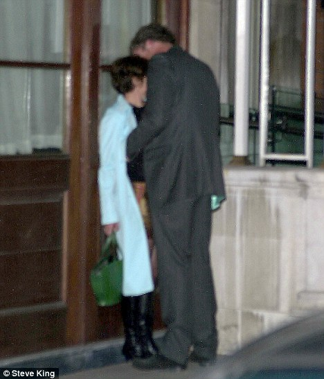 Caught out: Clarkson and BBC producer Elaine Bedell embrace in a doorway in 2003