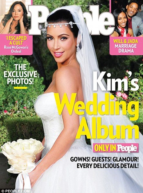 Big earner: The couple earnt a reported $18million from photo rights - like this cover picture, bought by People magazine - and advertising at the wedding