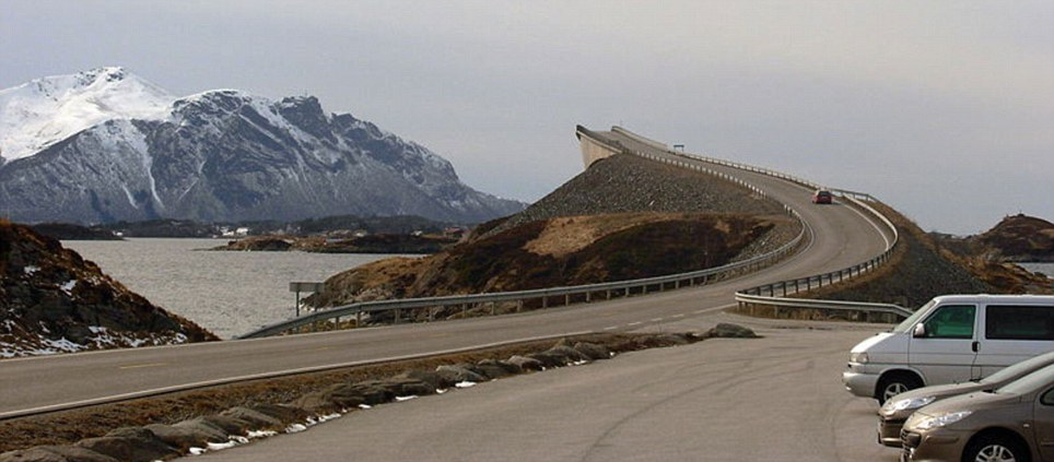 Trouble ahead: The intimidating bridge on Norway's Atlantic Road appears to be a real road to nowhere