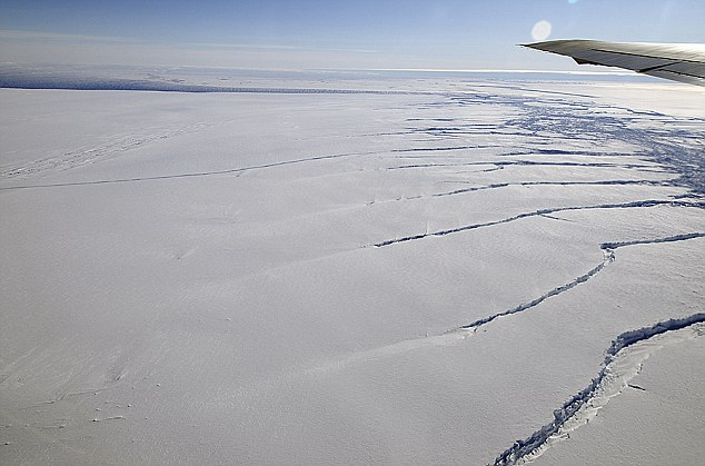 Detection: Scientists discovered the crack by flying over it in a DC-8 plane