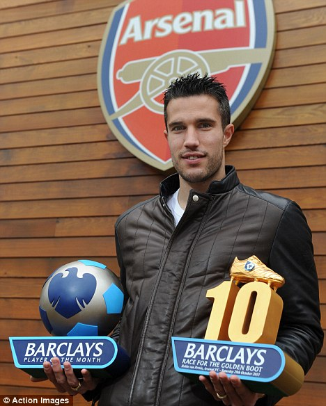 Double bubble: Robin van Persie celebrates the Barclays Player of the Month award