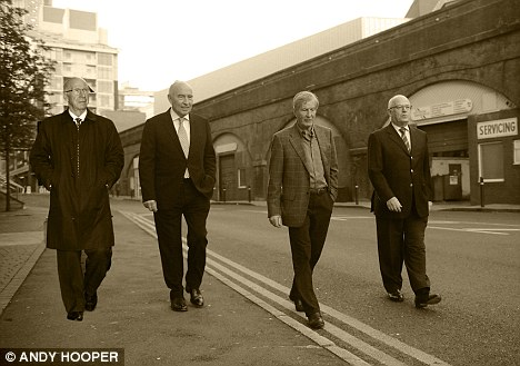 One step ahead: (from left) Charlton, Watkins, Edwards and Edelson moved fast to make sure they got Ferguson