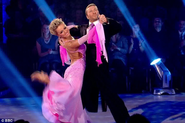 Controlled and poised: Robbie Savage showed his serious side with Ola Jordan during their waltz