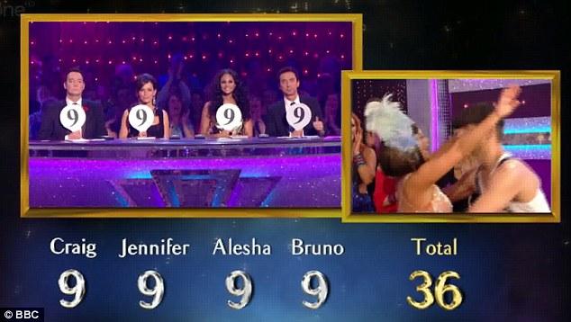 Wowing the judges: Craig Revel-Horwood, Jennifer Grey, Alesha Dixon and Bruno Tonioli all gave the couple 9s