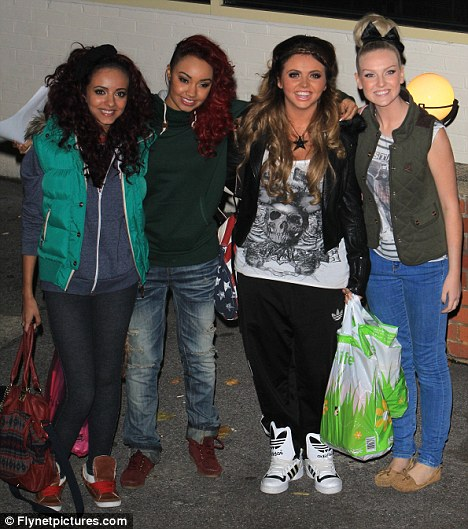 Support: Jesy left rehearsals with her Little Mix bandmates closely by her side